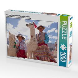 Frau und Mädchen mit Lama und Alpaka Lege-Größe 64 x 48 cm Foto-Puzzle Bild von Siegfried Kuttig Puzzle
