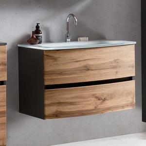 Waschschrank in Dunkelgrau und Wildeiche Optik 80 cm breit
