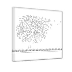 Bilderdepot24 Wandbild, Baum aus Herzen II - Ausmalbild 80 cm x 80 cm