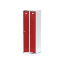 Metallspind, rote zweimantelige tür, zylinderschloss