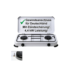 CAGO Gaskocher, 2-flammig mit Zündsicherung - Campingkocher Gasherd