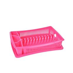 Wellgro Geschirrständer Abtropfgestell - Abtropfgitter - Geschirr Abtropfkorb - Abtropfständer - Abtropfschale - Geschirrabtropfständer - Geschirrabtropfkorb rosa