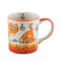 Mila Becher Mila Keramik-Becher Oommh Yoga Katze, MI-80212