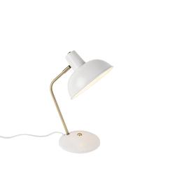 Retro Tischlampe weiß mit Bronze - Milou