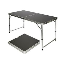 AMANKA Campingtisch Klappbarer verstellbarer Campingtisch Kofferformat, 120 x 60 x 60 bis 50 kg grau