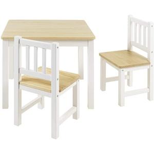 BOMI Kindersitzgruppe Holzsitzgruppe Amy, Kindertischgruppe aus Holz (Tisch und 2 Stühle, 3-tlg) beige