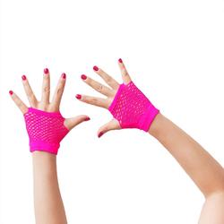 Netzhandschuhe kurz fingerlos Party Karneval Fasching - neon pink