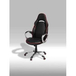 ebuy24 Drehstuhl Still Bürostuhl in schwarzen Kunstleder mit roten