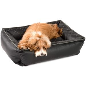 JAMAXX Orthopädisches Hundebett Kunstleder mit Memory Schaumstoff, Wasserabweisend Abwaschbar Hygienisch, Gelenkschonend, Hundekorb Hunde-Körbchen, PDB2010 schwarz (S) 65x50