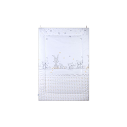 Julius Zoellner Krabbeldecke in weiß mit Muster Häschen und Eule, 95 x 135 cm