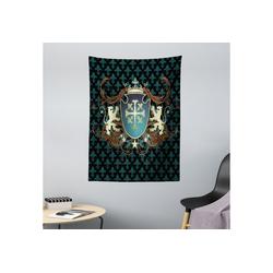 Wandteppich aus Weiches Mikrofaser Stoff Für das Wohn und Schlafzimmer, Abakuhaus, rechteckig, Mittelalterlich Mittelalter Wappen 110 cm x 150 cm