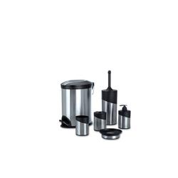 HTI-Living Seifenspender Badezimmer-Set 6-tlg. Silver