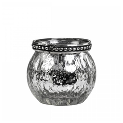 Chic Antique Teelichthalter Teelichthalter PARISIENNE silber antik D6,5cm Bauernsilber Windlicht mit Metallrand