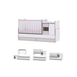 Lorelli Komplettbett Baby- und Kinderbett Mini Max, 3 in 1, umbaubar, für 2 Kinder gleichzeitig rosa