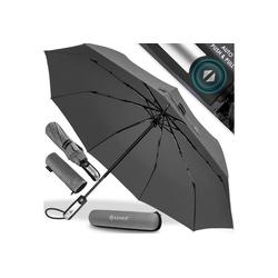 KESSER Taschenregenschirm, Regenschutz, Schirm sturmfest bis 150 km/h - inkl. Schirm-Tasche & Reise-Etui - Taschenschirm mit Auf-Zu-Automatik, klein - leicht & kompakt - Teflon-Beschichtung grau