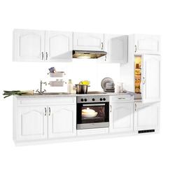 wiho Küchen Küchenzeile Linz, mit E-Geräten, Breite 270 cm, mit Cerankochfeld weiß