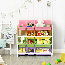 SONGMICS Aufbewahrungsbox GKR04W GKR04KL, Standregal Kinderregal mit 12 Aufbewahrungsboxen Kindergarten Pastellfarben rosa