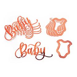12 Konfetti 6 Baby + 6 Hemdchen für Mädchen Baby Shower Geburt Deko - roségold