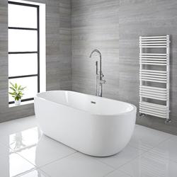 Freistehende Badewanne 156x75cm Acryl mit eingebauter Überlaufgarnitur in der Mitte, oval weiß - Otterton, von Hudson Reed