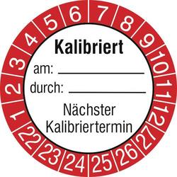SafetyMarking 15 St. Prüfplakette Kalibriert am: durch: Nächster Kalibriertermin 2022-2027 Rot Fol