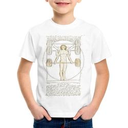 style3 Print-Shirt Kinder T-Shirt Vitruvianischer Mensch mit Langhantel kreuzheben fitnesstudio weiß 152