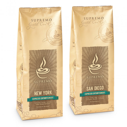 """Kaffeebohnen-Set """"SUPREMO New York & Sandiego entkoffeiniert"""", 2 x 1 kg"""