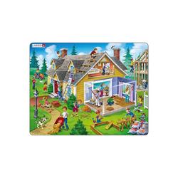 Larsen Puzzle Rahmen-Puzzle, 62 Teile, 36x28 cm, Haus, Puzzleteile