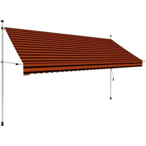 UnfadeMemory Einziehbare Markise Handbetrieben Außenmarkise Terrassenmarkise Manuell Balkonmarkise Sonnenschutz Markise Außenbereich (350 cm Orange/Braun)