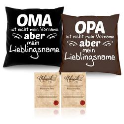 Soreso® Dekokissen Kissen mit Füllung im Set Oma Opa, Vatertagsgeschenk Muttertagsgeschenk braun