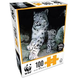 WWF Steckpuzzle WWF Puzzle Schneeleopard (100 Teile), 100 Puzzleteile beige