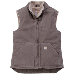 Carhartt Arbeitsweste Sandstone Mock Neck Vest mit weichem Sherpa-Futter braun XS