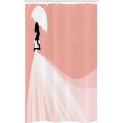 Abakuhaus Duschvorhang Badezimmer Deko Set aus Stoff mit Haken Breite 120 cm, Höhe 180 cm, Lachs Hochzeit Regenschirm