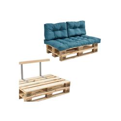 en.casa Palettenkissen, Telde Palettensofa Palettenmöbel inkl. Kissen Lehne und Palette in verschiedenen Farben blau