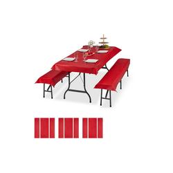 relaxdays Bierzeltgarnitur 12x Bierzeltgarnitur Auflage rot