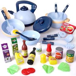 BeebeeRun Spiel-Kochgeschirr Küchenspielzeug Zubehör, (30-tlg., 30PCS Kinderküche Kochgeschirr mit Töpfe und Pfannen), Kinder Rollenspiel Spielzeug Lernspielzeug Geschenk