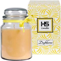 HS Candle Duftkerze (1-tlg), Kerze im Bonbonglas, Jar-Candle mit ca. 110 Std. Brenndauer, Höhe: 16cm, Ø10cm gelb