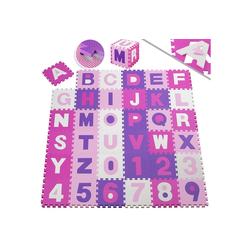KESSER Puzzlematte, 86 Puzzleteile, Kinderspielteppich aus Puzzleteilen 86-teilig Spielmatte Schaumstoffmatte Kinderteppich Puzzle Zahlen und Buchstaben, Maß je Matte ca. 31,5 x 31,5 cm Schutzmatte rosa