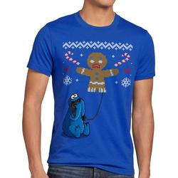 style3 Print-Shirt Herren T-Shirt Krümelmonster Ugly Sweater kekse cookie fun ernie bert monster x-mas pulli blau XL
