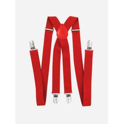 axy Hosenträger Herren Hosenträger 4 Stabile Clips X-Form 2,5cm Breit verstellbar und elastisch 120cm Lang rot