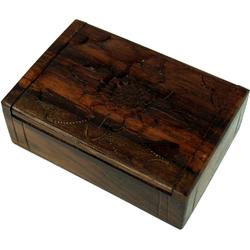 Guru-Shop Aufbewahrungsdose Beschnitzte Holzdose, Schatztruhe, Schmuck.. 11 cm x 3 cm x 7 cm