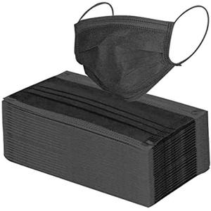 Eine Schachtel Einweg Mundschutz Blau Atmungsaktiv Einweg_Mundschutz Staubschutz Face Bandanas Earloop-Schal Staubdichte Fliter Accessoire Schutz (50stk Black)
