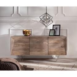 DELIFE Sideboard Wyatt, Sheesham Natur 150 cm 3D Optik oben Edelstahl Design Sideboard natur 150 cm x 70 cm x 45 cm