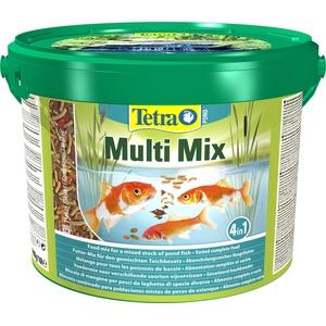 Tetra Pond Multi Mix – Fischfutter für verschiedene Teichfische mit vier Futtersorten (Flockenfutter, Futtersticks, Gammarus, Wafer), 10 L Eimer