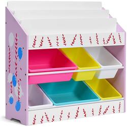 COSTWAY Bücherregal Aktenregal Aufbewahrungsregal, Spielzeugregal, mit 6 Aufbewahrungsboxen bunt 28 cm x 80 cm x 83 cm