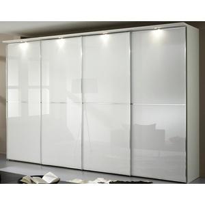 Staud Sinfonie Plus Schwebetürenschrank weiß Glas mit Zierleiste Höhe 200 cm