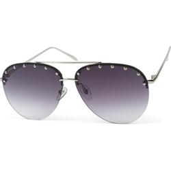 styleBREAKER Sonnenbrille Rahmenlose Piloten Sonnenbrille mit Nieten Getönt silberfarben