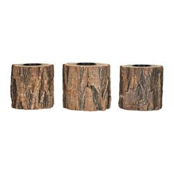 Levandeo® Teelichthalter, 3er Set Teelichthalter Holz H10cm Kerzenhalter Kerzenständer Baum Natur Unikat