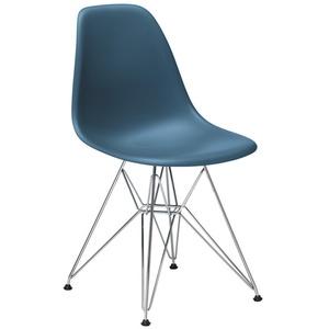 Vitra Stuhl Eames Plastic Side Chair  83x46.5x55 cm blau, Gestell: verchromt, Designer Charles & Ray Eames