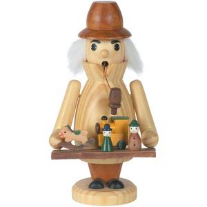 OBC Räuchermännchen Spielwaren-Händler Natur, 18 cm, Dekofigur Handbemalt im Erzgebirge - Stil/Räuchermann / Räucherfigur aus Holz
