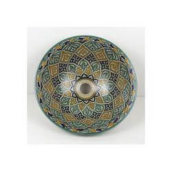 Casa Moro Waschbecken Mediterranes Keramik-Waschbecken Fes61 rund Ø 40 cm bunt H 18 cm handbemalt, Marokkanisches Handwaschbecken für Bad Gäste-WC, Einfach schöner Wohnen, WB40261, Handmade